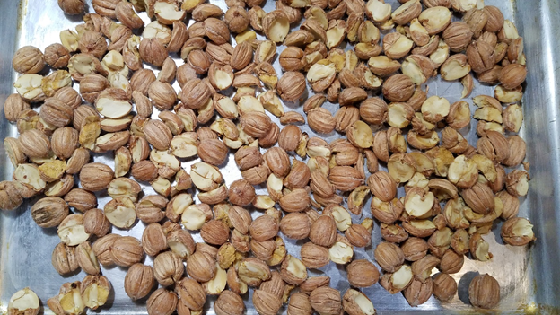Roast nuts until papery husk sloughs off.